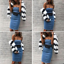 Load image into Gallery viewer, Strapless Denim Dress Elegant Bodycon - Online Fashion Store -Shop Alluring