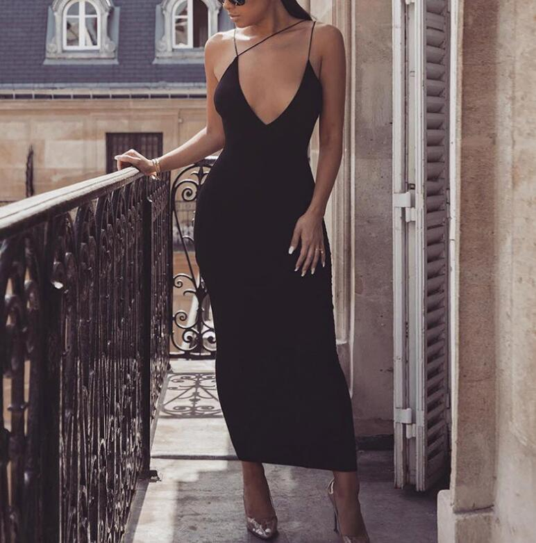 Spaghetti Strap Backless Sexy Bodycon Dress - Online Fashion Store -Shop Alluring