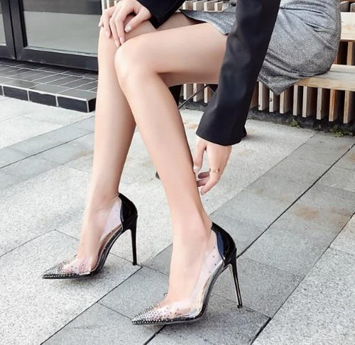 Transparent PVC Pump Rhinestone Crystal High Heel Stilettos Shoes - Online Fashion Store -Shop Alluring