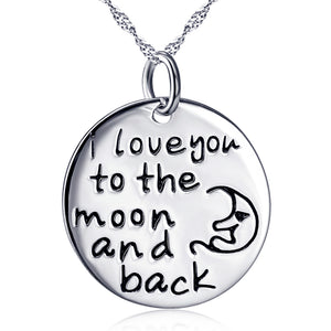 """I lover you to the moon and back""Pendant 925 Sterling Silver Necklace"