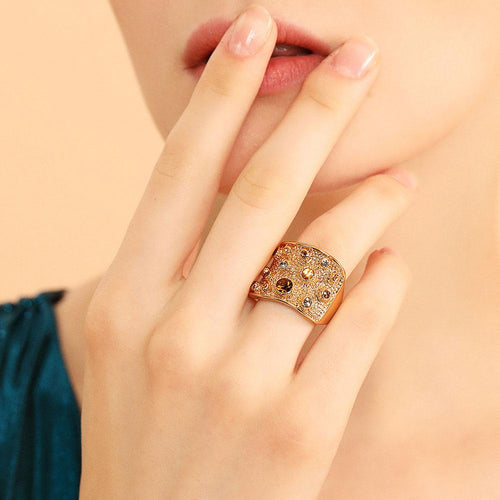 Viennois Wide Multicoloured Rhinestones Paved Cocktail Ring-Rings-Shop Alluring