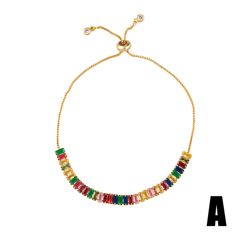 Gold Plated colorful zircon bracelet