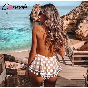 Conmoto Polka Dot Bikini Deep V Backless Swimsuit Print Tassel Lace Swimwear - Online Fashion Store -Shop Alluring