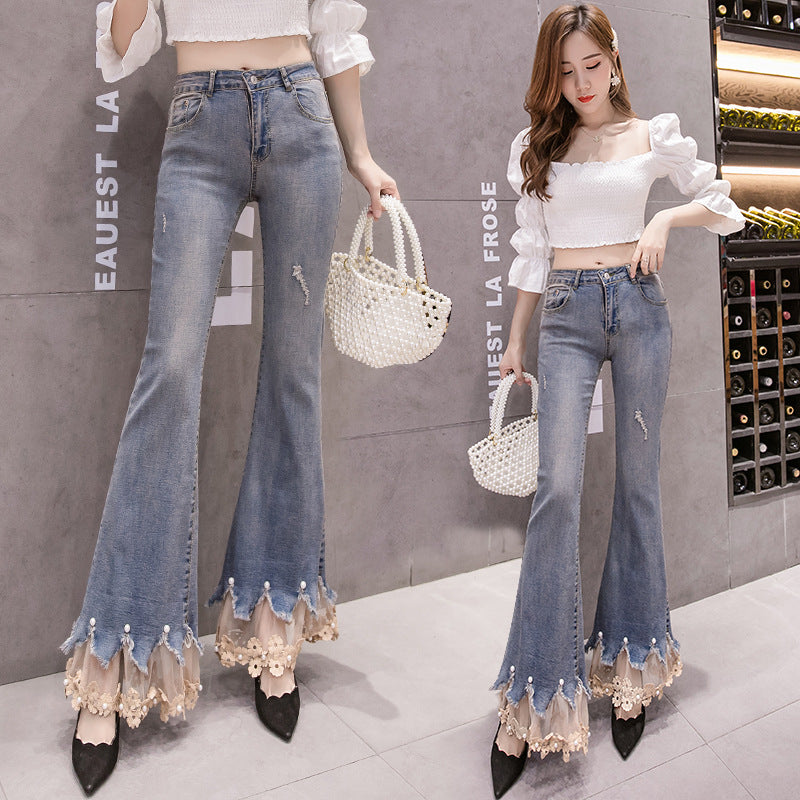 Paneled Micro Flare Jeans Pants with Lace and Pearl Decoration