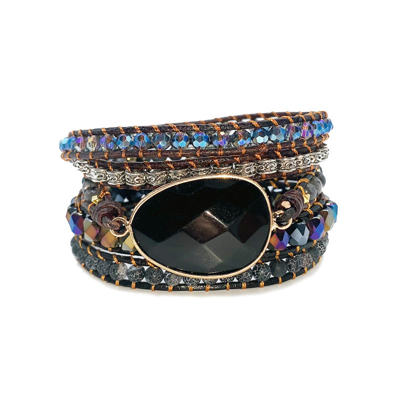 Beaded Blackstone Woven Multi-layer Bracelet