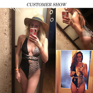 Leopard Print One Piece Swimsuit Deep V-Neck Bikini Swimwear - Online Fashion Store -Shop Alluring