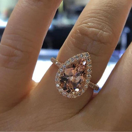 Elegant Cubic Zirconia Rose Gold Champagne Crystal Ring-Rings-Shop Alluring