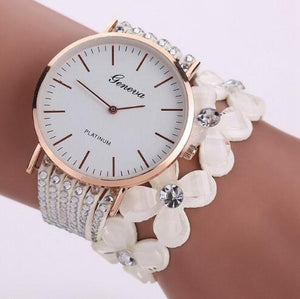Beaded Bracelet Watch Crystal Beads and PU Leather Strap - Online Fashion Store -Shop Alluring