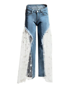 Sexy Women Wide Leg Pants Jeans with Lace