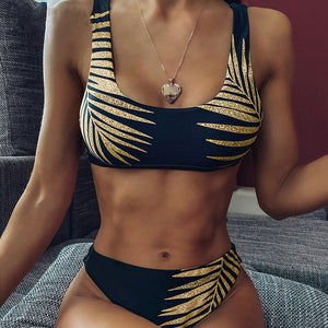 High Waist Bikini Swimsuit Print Leaf Gold Design Swimwear - Online Fashion Store -Shop Alluring