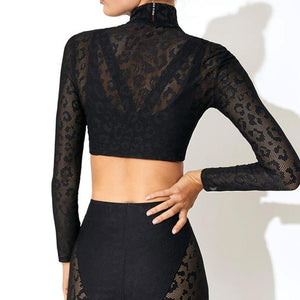 Lace Tracksuit Set Women Sexy Two Piece Set-Sportswear-Shop Alluring