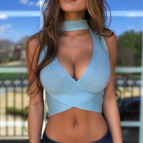 Sexy Halter Knitted Short Top Sleeveless Slim Tank Top - Online Fashion Store -Shop Alluring