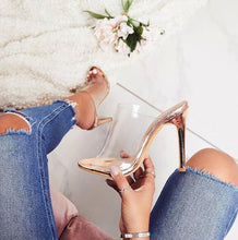 Load image into Gallery viewer, PVC Champagne Transparent Slippers Open Toe Thin Heels Shoes - Online Fashion Store -Shop Alluring