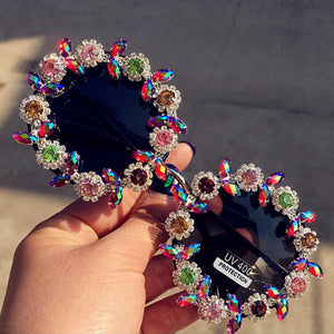 Handmade Vintage Crystal Round Sunglasses - Online Fashion Store -Shop Alluring