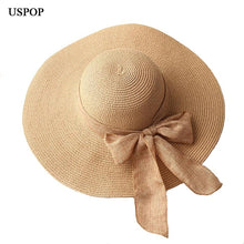 Load image into Gallery viewer, Hand Made Straw Hat Female Ribbon Bow-knot-Hats-Shop Alluring