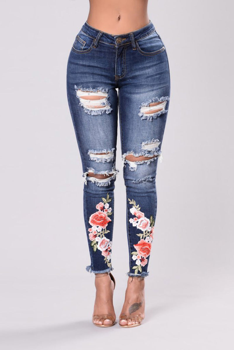 Woman Ripped Jeans With Embroidery Hole Sexy High Waist Plus Size Jeans