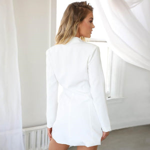 Long Blazer with Metal Buckle Sexy Jacket - Online Fashion Store -Shop Alluring
