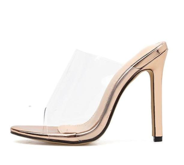 PVC Champagne Transparent Slippers Open Toe Thin Heels Shoes - Online Fashion Store -Shop Alluring