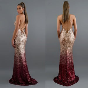 Long Elegant Sequin Mermaid Maxi Dress - Online Fashion Store -Shop Alluring