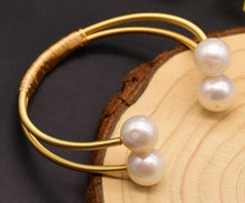 Load image into Gallery viewer, Natural Fresh Water Pearl Double Layer Bangle - Online Fashion Store -Shop Alluring