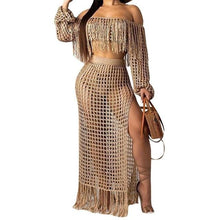 Load image into Gallery viewer, Fish net tassel beach cover ups sets - Online Fashion Store -Shop Alluring