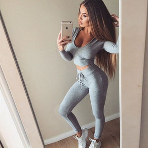 Long Sleeve Running Sportswear Tank Top Leggings - Online Fashion Store -Shop Alluring