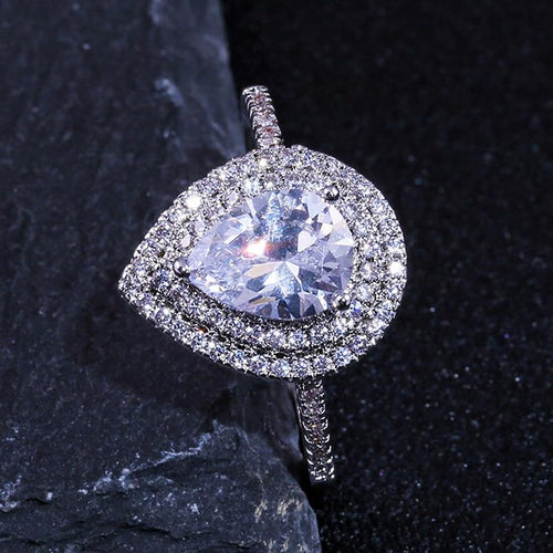 Pear-shaped Water Drop Cubic Zircon Ring-Rings-Shop Alluring