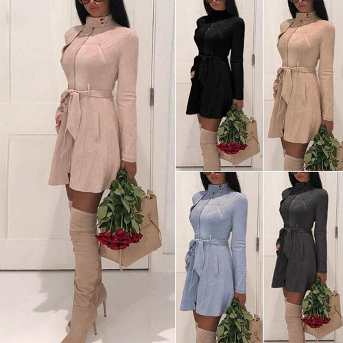 Casual Sash Suede Trench Coat Casual Leather Pocket Long Overcoat-Jackets-Shop Alluring