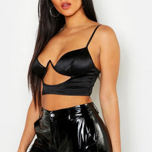 Load image into Gallery viewer, Sexy Crop Top Hollow Out Underwire Push Up Bralet Glossy Satin Top - Online Fashion Store -Shop Alluring