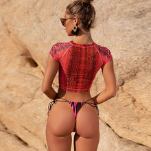 Load image into Gallery viewer, Three Piece Set Snake Print See Through Mesh Swimwear - Online Fashion Store -Shop Alluring