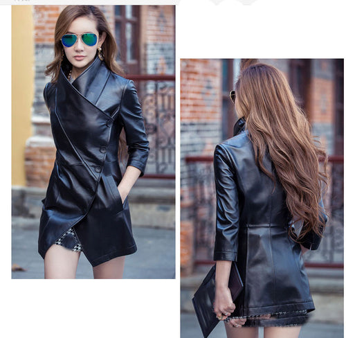 Vegan leather Autumn Lapel leather Jacket - Online Fashion Store -Shop Alluring