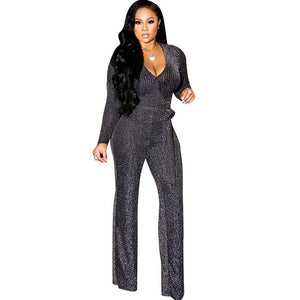 Sexy Sleeve Elegant Glitter Jumpsuit - Online Fashion Store -Shop Alluring