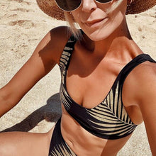 Load image into Gallery viewer, High Waist Bikini Swimsuit Print Leaf Gold Design Swimwear - Online Fashion Store -Shop Alluring