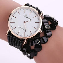 Load image into Gallery viewer, Beaded Bracelet Watch Crystal Beads and PU Leather Strap - Online Fashion Store -Shop Alluring