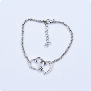 Double Heart Chain Anklet Bracelet - Online Fashion Store -Shop Alluring