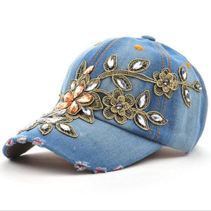 Denim Diamond Embroidery Flower Snapback Hat-Hats-Shop Alluring