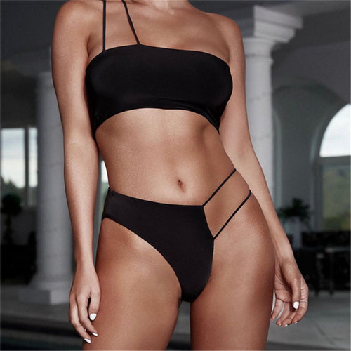 Swimsuit Sexy Solid Bandage One Shoulder Swimwear - Online Fashion Store -Shop Alluring