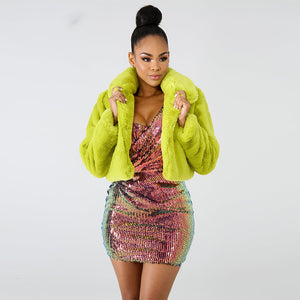 Neon Short Faux Fur Coat Jacket - Online Fashion Store -Shop Alluring
