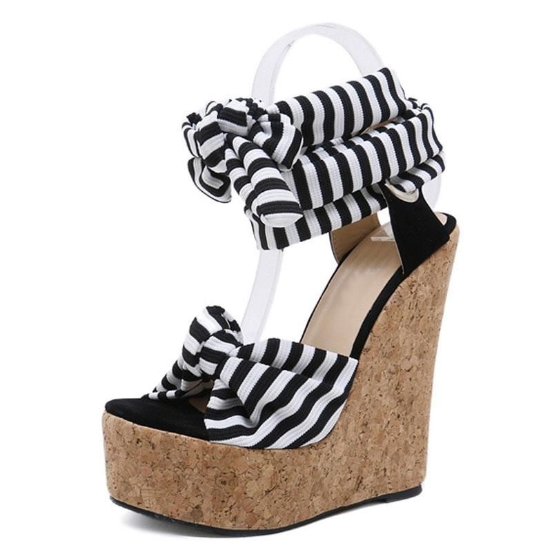 Roman Cotton Fabric Roman Wedges High Heels-Shoes-Shop Alluring