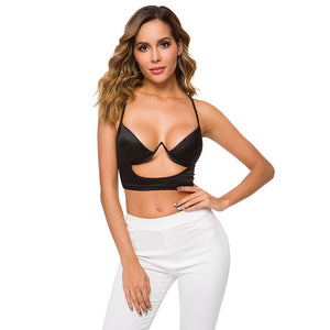 Sexy Crop Top Hollow Out Underwire Push Up Bralet Glossy Satin Top - Online Fashion Store -Shop Alluring