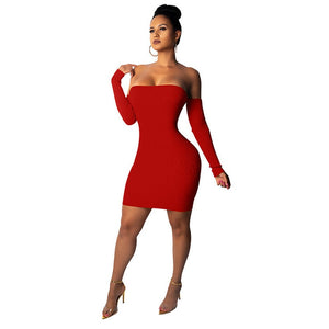Knitted Long Sleeve Mini Bandage Dress - Online Fashion Store -Shop Alluring