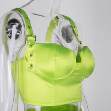 Load image into Gallery viewer, Buckle Down Satin Two Piece Neon Set - Online Fashion Store -Shop Alluring