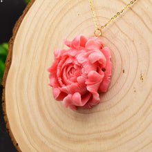 Load image into Gallery viewer, Original Design Sterling Silver Coral Flower Pendant Necklace-Necklaces-Shop Alluring