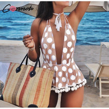 Load image into Gallery viewer, Conmoto Polka Dot Bikini Deep V Backless Swimsuit Print Tassel Lace Swimwear - Online Fashion Store -Shop Alluring
