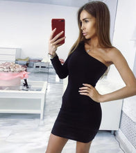 Load image into Gallery viewer, One Shoulder Slope Long Sleeve High Waist Dresses - Online Fashion Store -Shop Alluring