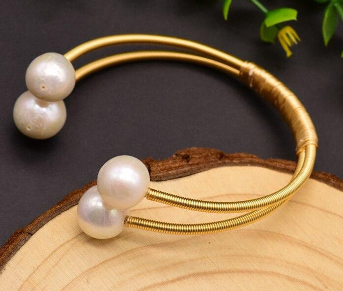Natural Fresh Water Pearl Double Layer Bangle - Online Fashion Store -Shop Alluring