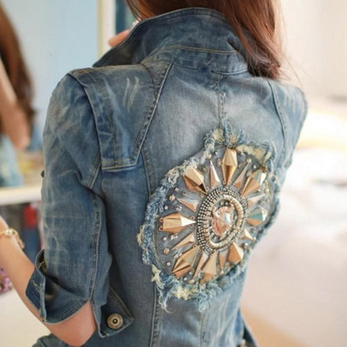 Coats Leisure Diamonds Half sleeve Women's Denim Blue Jacket Coat-Jackets-Shop Alluring