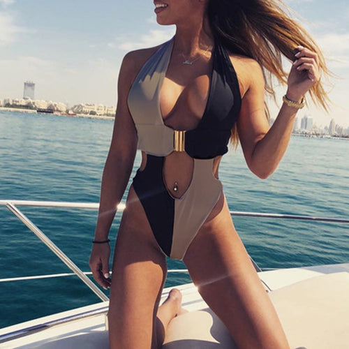 Splice Buckle Swimsuit One Piece High Cut Push Up Swimwear - Online Fashion Store -Shop Alluring