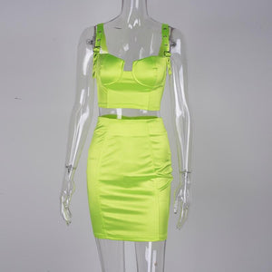 Buckle Down Satin Two Piece Neon Set - Online Fashion Store -Shop Alluring