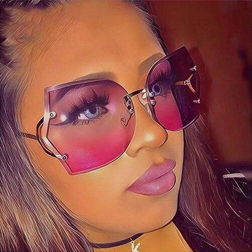 Cat Eye Sunglasses Elegant Optics Rimless Sunglasses - Online Fashion Store -Shop Alluring